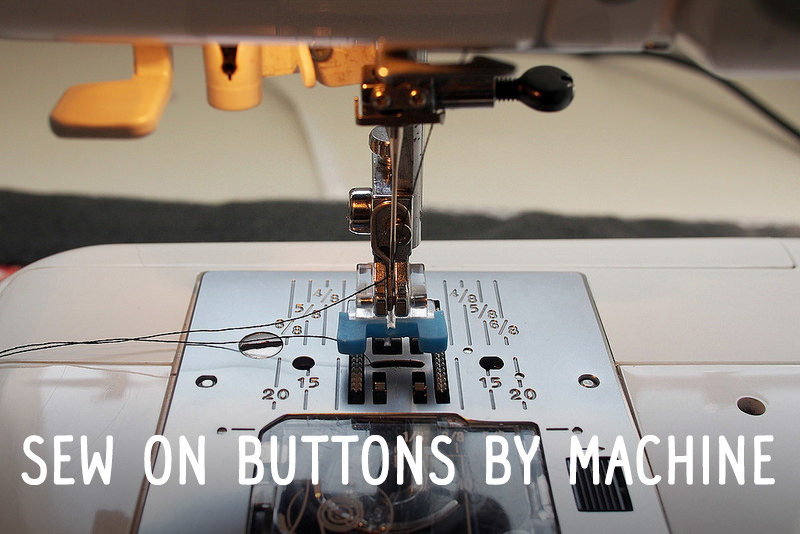 Sew on buttons by machine
